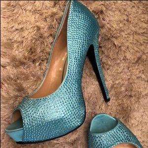 Crystal Encrusted Peep Toe Light Turquoise Heels💍